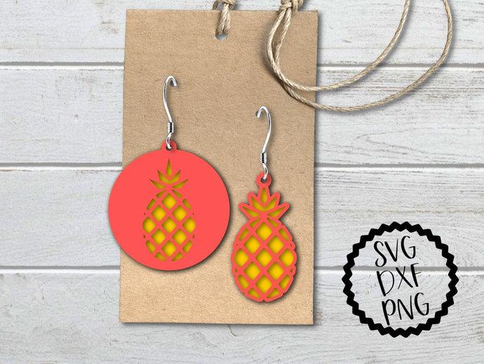 Pineapple Earrings svg, Pineapple Earrings Clip Art, 2 Designs, svg, dxf, png,