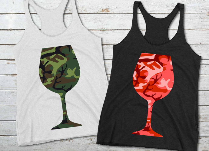 Camouflage Wine Glass svg, Camo Wine Glass Clip Art, svg, dxf, png, Cut Files