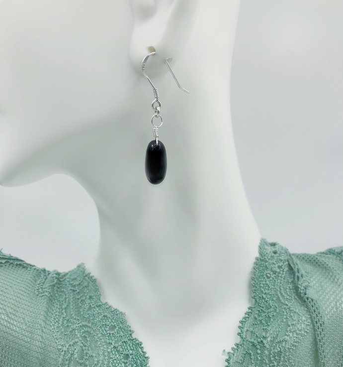 Onyx Drops in Silver