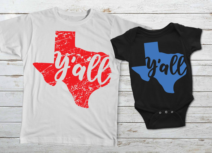 Texas Y'all svg, Texas State Clip Art, Texan, Distressed, svg, dxf, png, Cut