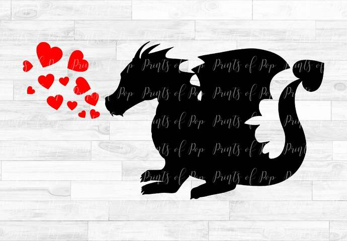 Dragon svg, Hearts Clip Art, Valentine's Day, svg, dxf, png, Cut Files