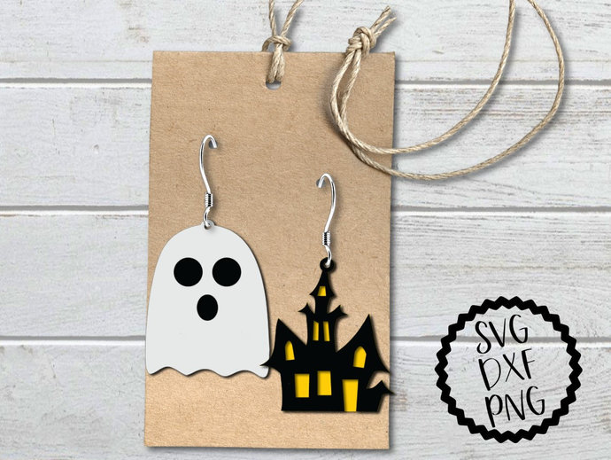 Ghost Earrings svg, Haunted House Earrings Clip Art, Digital Earring Files,