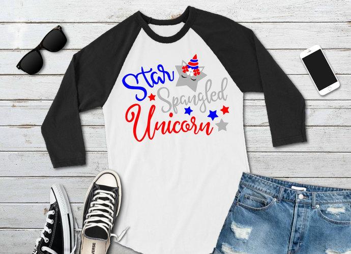 Unicorn svg, Star Spangled Unicorn, 4th of July Clip Art, svg, dxf, png, Cut