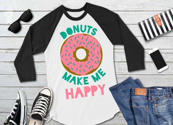 Donut svg, Doughnut Clip Art, Donuts Make Me Happy, svg, dxf, png, Cut Files