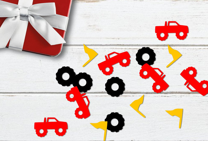 Monster Truck Confetti svg, Printable Monster Truck Confetti, Tire, Flag, svg,