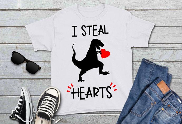 Valentine Dinosaur svg, I Steal Hearts, T-Rex Clip Art, Valentine's Day, svg,