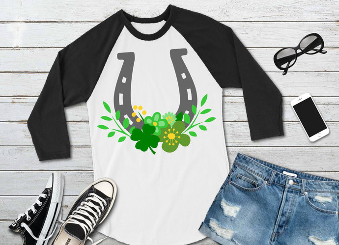 Lucky Horseshoe and Flowers svg, Shamrock Clip Art, St. Patrick's Day, svg, dxf,