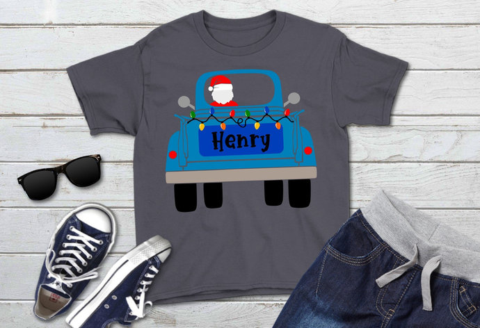 Blue Vintage Truck with Santa and Christmas Lights svg, Holiday Clip Art, svg,