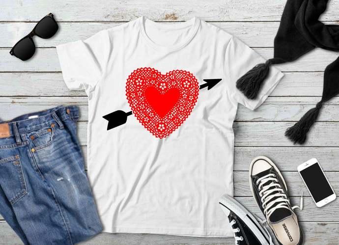 Valentine svg, Doily Heart Clip Art, Heart and Arrow, Valentine's Day, svg, dxf,
