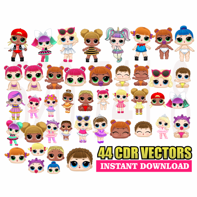 44 Doll LOL Vectors in .cdr Corel Draw Graphics
