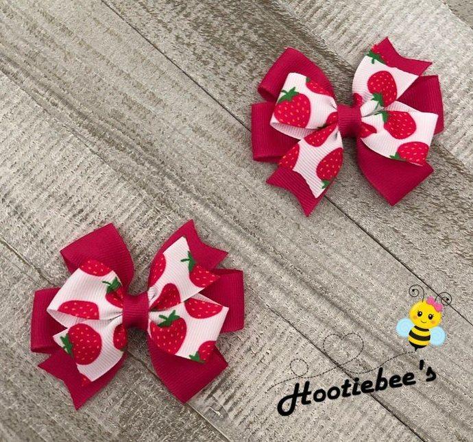 Pink Strawberry Toddler Hair Bow Set