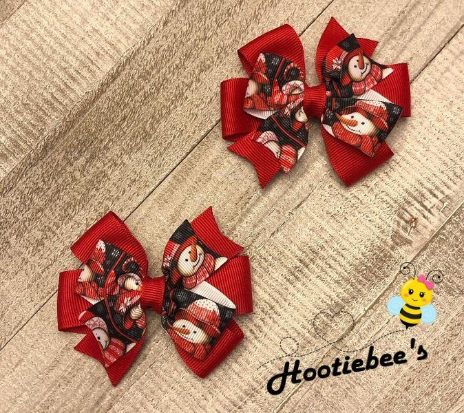 Red and Black Snowman Toddler Hair Bow Set