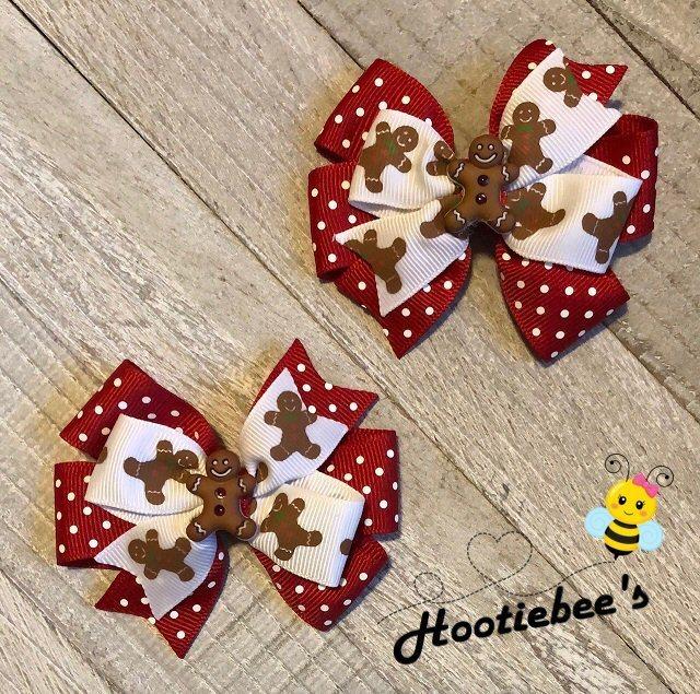 Gingerbread Man Toddler Hair Bow Set