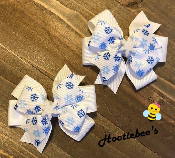 Snowflake Toddler Hair Bow Set