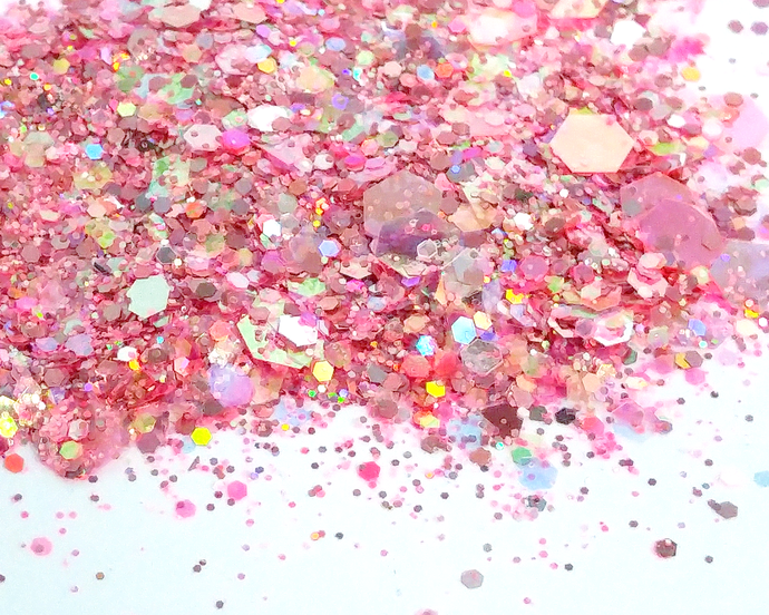 3rd Times A Charm - Loose Pink Iridescent and Holographic Chunky Glitter Mix