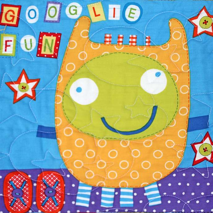 Patchwork Quilt, Silly Monster, Blue