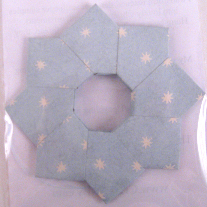 Origami Wreath Christmas Ornament set Light Blue with White Stars