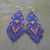 """Native American Style Brick Stitched Geometric Design """"Purple Royalty"""" Earrings"""