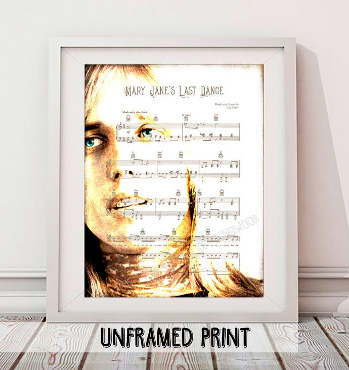 Tom Petty Fan Art Poster - Mary Jane's Last Dance Music Art Print