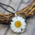Daisy necklace, floral necklace, pressed flower pendant, pressed flower inside,