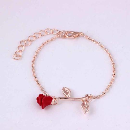 Rose bracelet, Gold rose bracelet, Beauty and The Beast rose, Rose pendant, Tiny