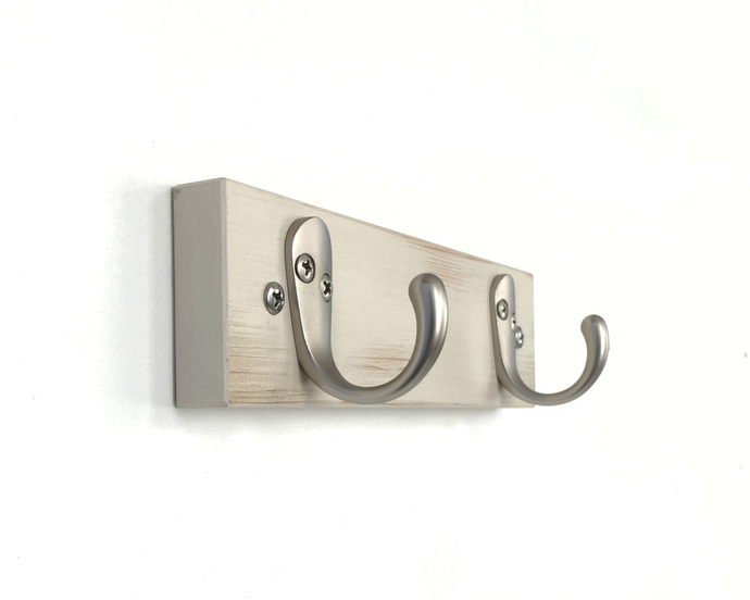 Double Wall Hooks in Rustic White with Nickel or Black Hooks for Kitchen, Bath
