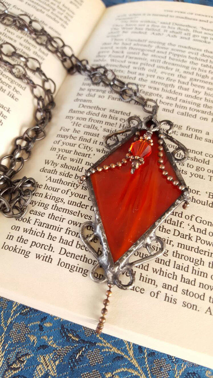 Gothic pendant necklace stained glass soldered jewelry gunmetal copper red art
