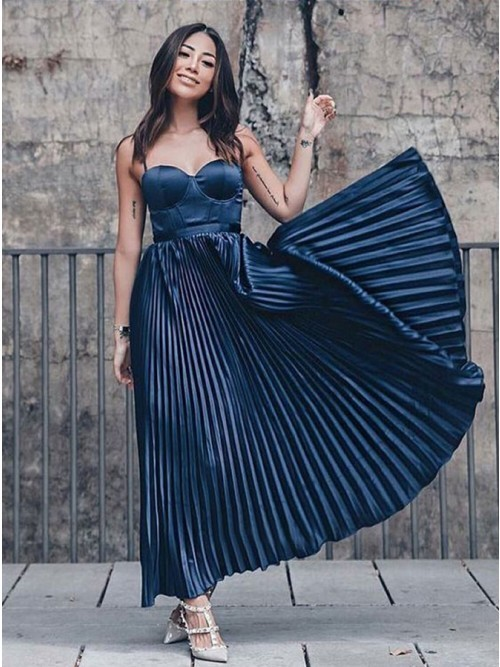 A-Line Sweetheart Ankle-Length Dark Blue Pleated Prom Party Dress,AP971
