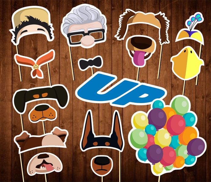 Up Movie Photo Booth Props - INSTANT DOWNLOAD - Up Birthday Party Masks- Decor