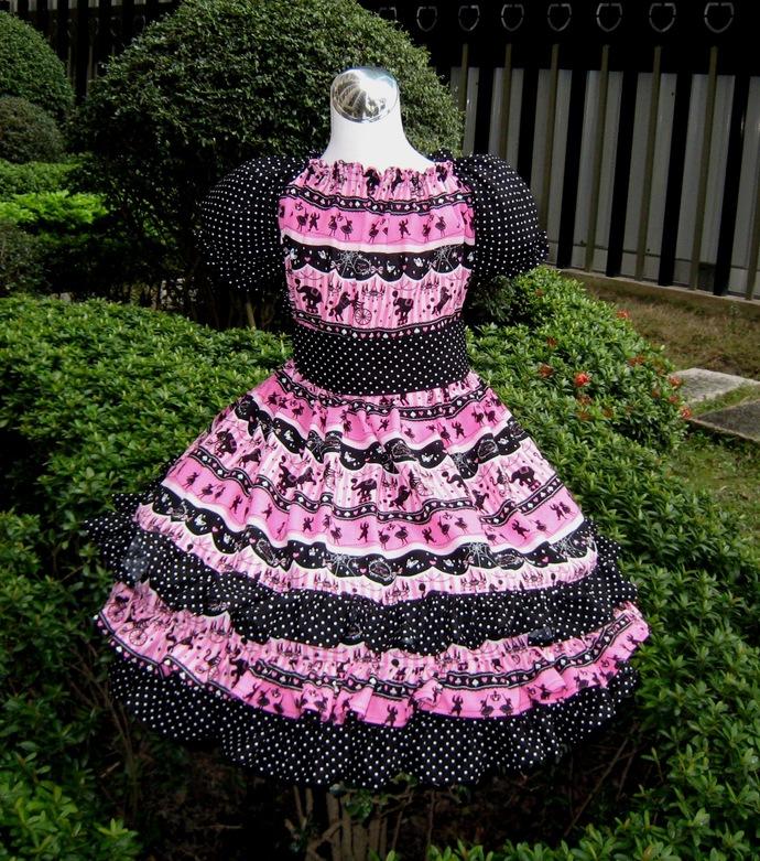 Hot Pink Ruffle Dress, Ruffles Circus Dress, Polka Dots Girl Dress, Pink and