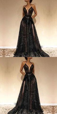 Flare A Line V Neck Spaghetti Straps Black Lace Long Prom Dresses
