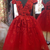 Elegant Tulle Red Short Homecoming Dress with Cap Sleeve, Appliques Prom Dress