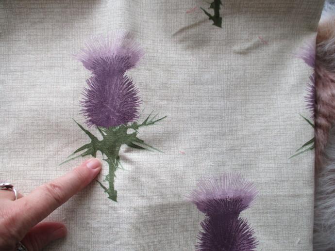 1 Fat Quarter Genuine Scottish Thistle Fabric - Canvas - Top Quality