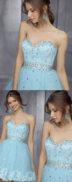 Sweetheart Tulle Sky Blue Beaded Short Homecoming Dress, Appliques Prom Dress