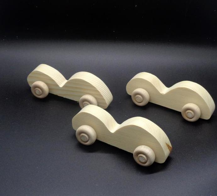 Pkg of 3 Handcrafted Wood Toy Race Cars 326BH-U-3 unfinished or finished