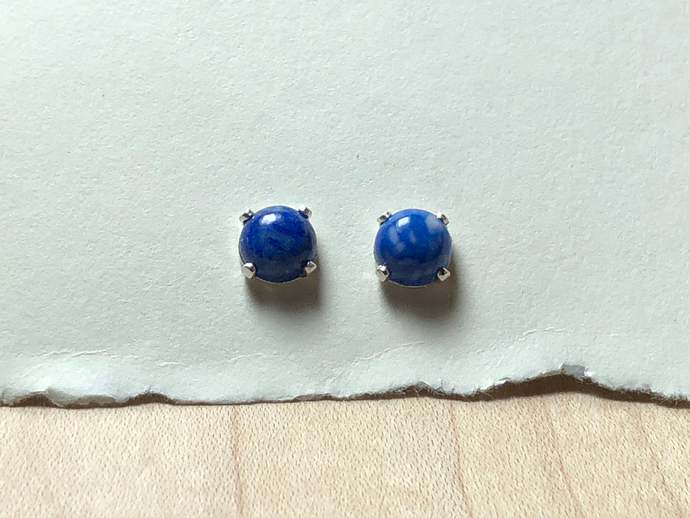 6mm Denim Lapis Gemstone Post Earrings Prong set with Sterling Silver