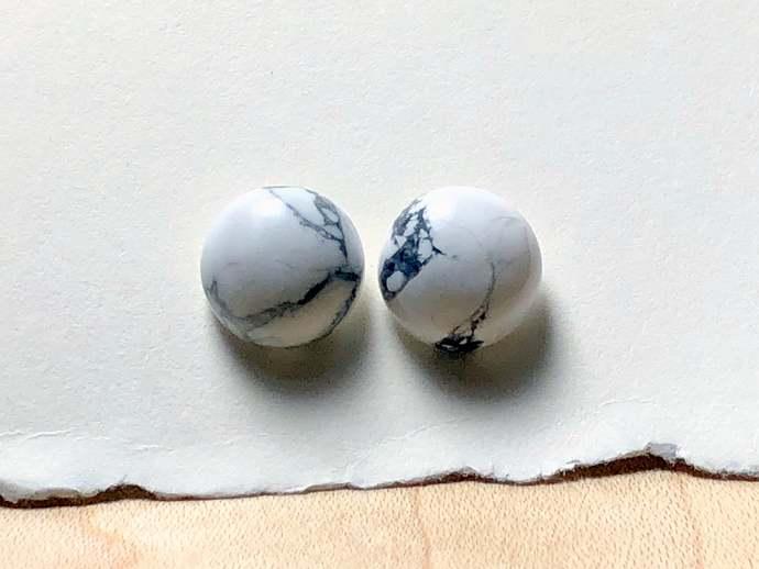 10mm White Howlite Gemstones and Sterling Silver Post Earrings