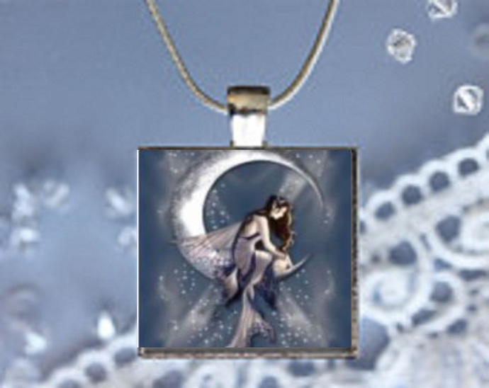 Fantasy Pendant Fairy on the Moon