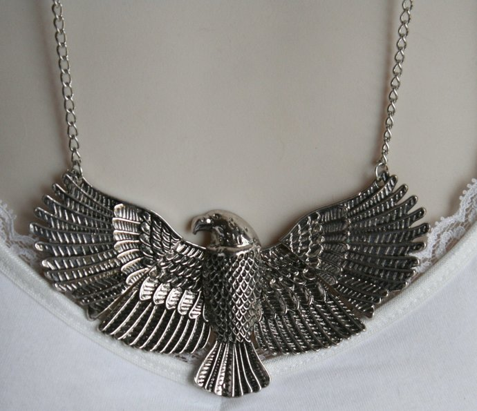 Pewter Winged Eagle Pendant Necklace, Detailed Feathered Eagle Chain Necklace,