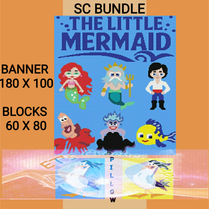 The Little Mermaid SC Full Bundle 8 Patterns includes Graph with Written Color
