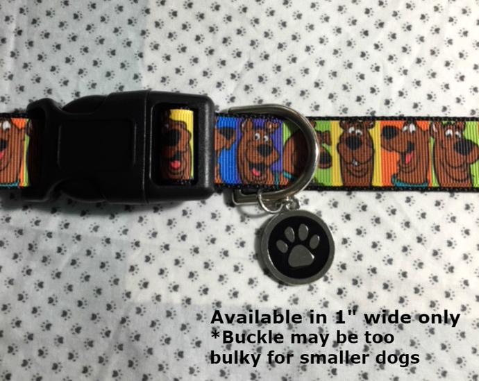 "Scooby Doo, cartoon, kids, books, TV, 1"" wide adjustable Dog collar, paw print"