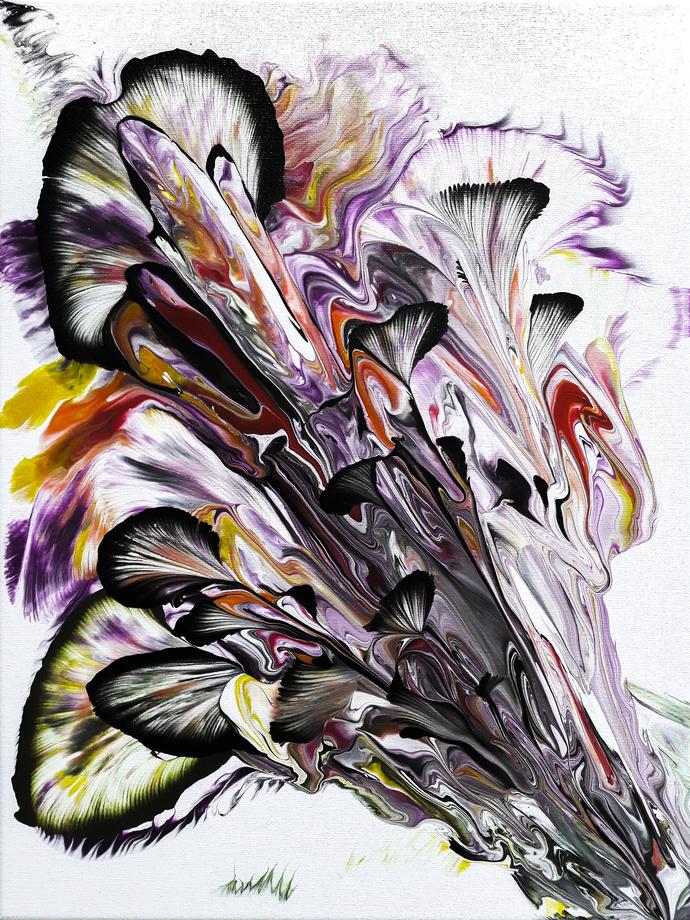 "Acrylic Pour Painting Original Artwork 16""x 12"" on Canvas  Abstract Art Fluid"