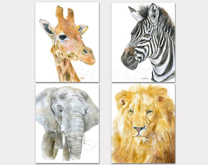 African Animal Watercolor Art Prints - Lion Zebra Giraffe Elephant