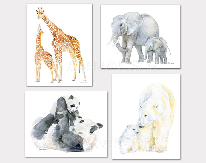 Mother and Baby Animal Watercolor Art Prints - Giraffes Elephants Pandas and