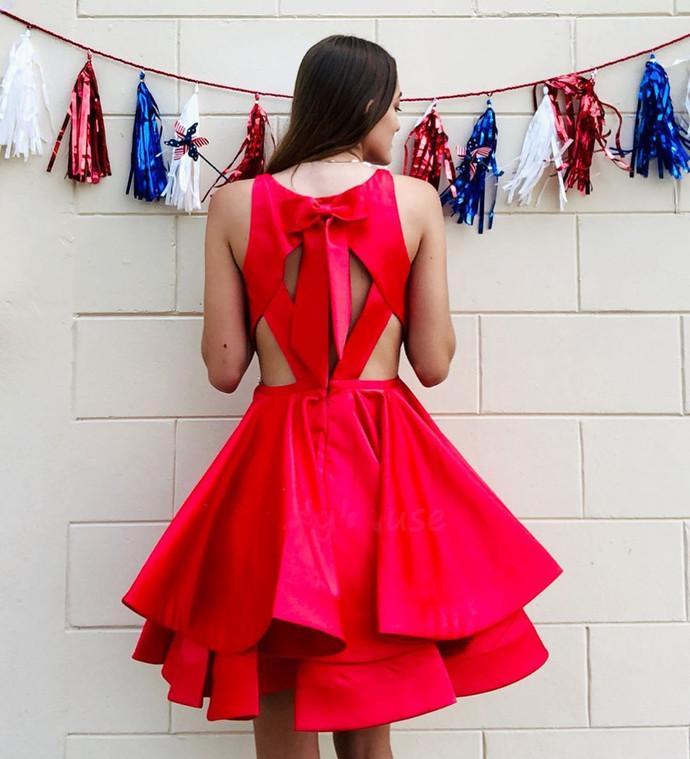 Elegant V neck Red Short Homecoming Dress, Red Prom Dress