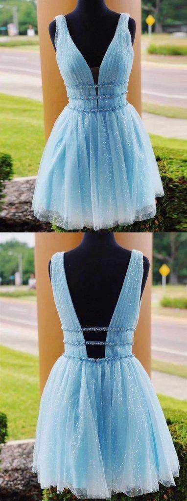 Elegant V neck Blue Prom Dress, Open Back Short Homecoming Dresss