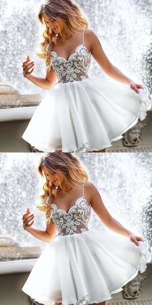 Sexy Sleeveless Straps Short White Appliques Short Homecoming Dress Prom Dress
