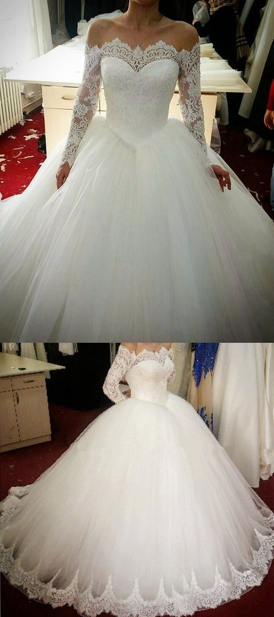 Long Sleeve White Lace Appliques Ball Gown Wedding Dress, Formal Bridal Gowns