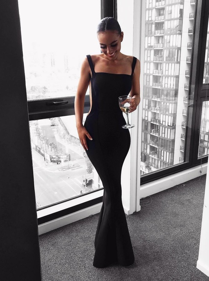Sexy Mermaid Square Backless Floor-Length Black Prom Party Dress,AE012
