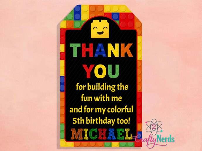 Building Blocks Birthday 10 Thank You Tag, Blocks Birthday Theme, Personalized,
